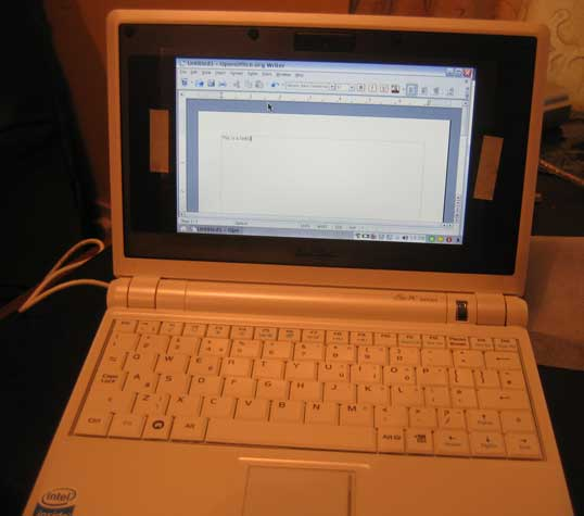 Open Office Word on the Asus EEE Pc